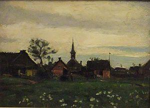 Karl Madsen - Karl Madsen: Sketch of Hornbæk with church (1885)