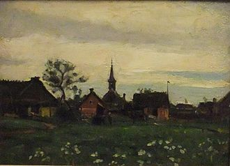 Karl Madsen - Sketch of Hornbæk with church (1885)