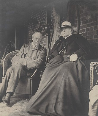 Francis Galton - Francis Galton, aged 87, on the stoep at Fox Holm, Cobham, with Karl Pearson.