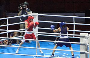 Katie Taylor - Taylor (in red) vs. Chorieva at the 2012 Olympic semi-finals