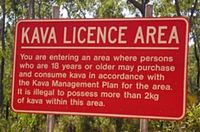 Signpost outside Yirrkala, NT, where kava was introduced as a safer alternative to alcohol, but was withdrawn in 2007.