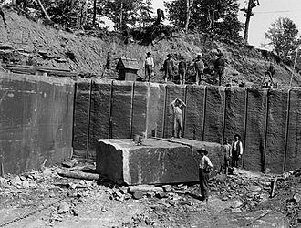 Jacobsville Sandstone - Quarry of the Kerber-Jacobs Redstone Company at Portage Entry about 1897
