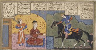 Al-Mundhir III ibn al-Nu'man - Shahnameh illustration of al-Mundhir III (right) seeking the help of the Sasanian king Khosrow I against the Byzantine Empire.