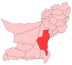 Localisation du district de Khuzdar au sein de la province du Baloutchistan.