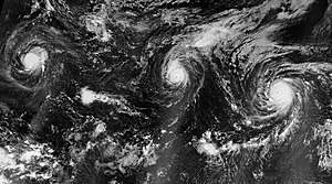 2015 Pacific hurricane season - Hurricanes Kilo (left), Ignacio (center), and Jimena (right), all at major hurricane intensity, spanning the Central and Eastern Pacific basins on August 30