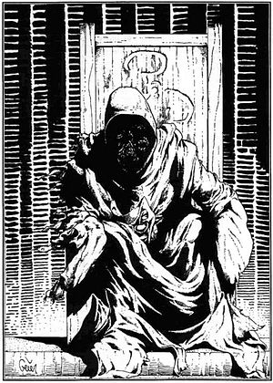 "The King in Yellow - ""The King in Yellow"", illustration by Earl Geier in Richard Watts' scenario ""Tatterdemalion"" for the Call of Cthulhu role-playing game published by Chaosium. The Yellow Sign adorning the back of the throne was designed by Kevin A. Ross for the scenario ""Tell Me, Have You Seen the Yellow Sign?"""