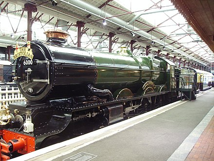King George V pulling the 'Bristolian' passenger train at the Swindon Steam Railway Museum.