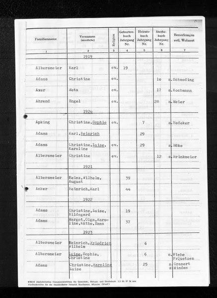 File:Kombiniertes Namensverzeichnis zu den Geburts-, Heirats- und Sterberegistern des Standesamtes Meißen (bei Minden), 1919 bis 1959, Teil 1 (A bis K).djvu