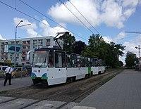 Konstal 105Ng2015, Rayskiego tram stop in Szczecin, 2017.jpg