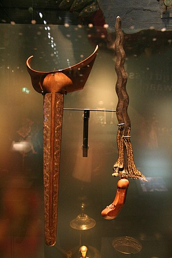 The Kris (or Kalis), sacred swords used by uncolonized Filipinos, that were wielded as standard weapons. Kris and scabbard.jpg
