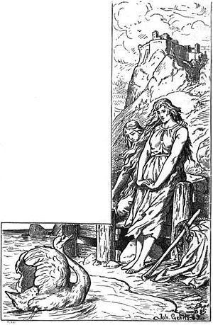 """Kudrun - """"Kudrun at the sea shore"""" (1901) by Johannes Gehrts."""
