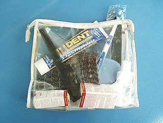 Hygiene - A clear plastic toiletry bag