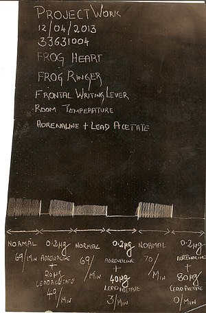 Lead - Kymographic recording of the effect of lead acetate on frog heart experimental set up.