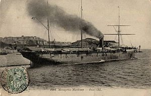 Messageries Maritimes - Messageries maritimes' 1879 sail- and steamship Oxus leaving port