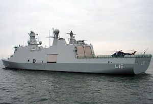 English: Danish navy Absalon (L16) with a West...