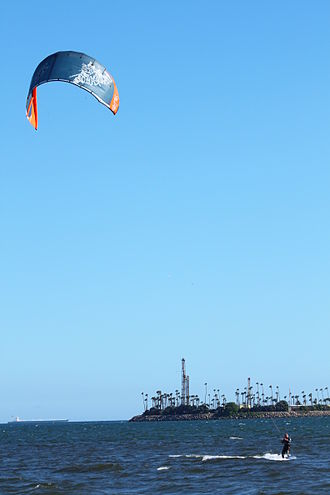 Kiteboarding - A kitesurfer off Long Beach, California, USA