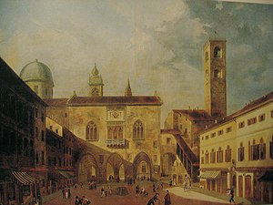 Luigi Deleidi - Piazza Vecchia, the old square of Bergamo, now in the Accademia Carrara
