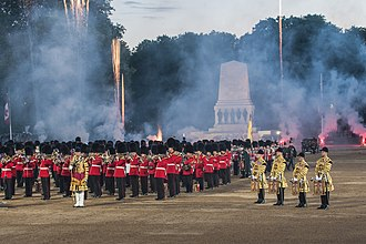 Beating Retreat - The Massed Bands of the Household Division perform in the fireworks finale at Beating Retreat 2013.