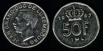 Luxembourgish franc - A Luxembourgish 50 franc coin of 1987