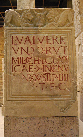 Classis Germanica - Grave stone of Marines L. Valerius Verecundus, died in service in the camp Cologne Alteburg.