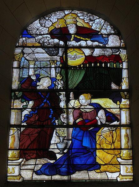 Vitrail de l'Annonciation de l'église Saint-Julien de La Bazouge-des-Alleux (53).