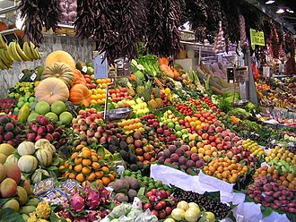 Produce - Produce on display at La Boqueria market in Barcelona, Spain.