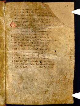 Photographie du manuscrit d'Oxford. La page est brune.