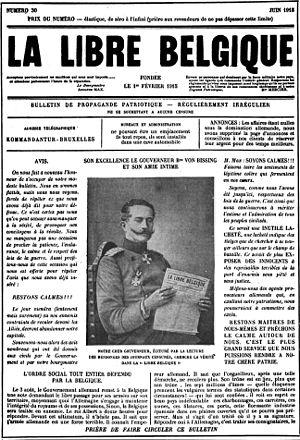 La Libre Belgique - A La Libre Belgique of 1915 when the paper was produced clandestinely during World War I