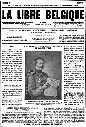 Underground press - La Libre Belgique, an underground newspaper produced in German-occupied Belgium during World War I