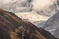 Lac de Moiry, (2250 m) Grimentz, Zwitserland. Dreigende gletsjer boven Lac de Moiry.JPG