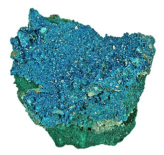 Allihies - Langite, a copper sulfate, from Mountain Mine, Allihies.