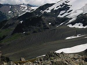 Moraine below Hadley Glacier (visible in the u...