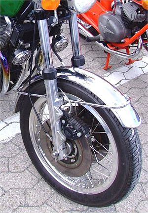 Ceriani - Telescoping hydraulic frame fork by Ceriani mounted on a 1974 Laverda 1000, with Brembo twin disc brakes