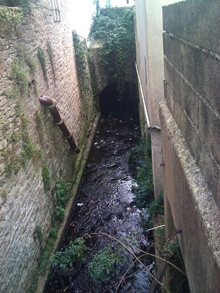 Le ruisseau du Frout à Quimper. Dernière partie à ciel ouvert, parallèle au début de la rue de Brest, avant de passer sous la place Alexandre Massé.