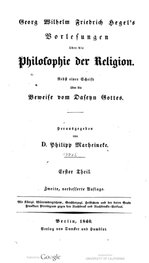Lectures on the Philosophy of Religion - Title page of the 1840 German edition.
