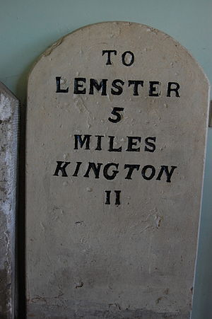 Leominster -  Milepost, showing the old spelling Lemster, now in Leominster Museum