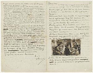 "The Letters of Vincent van Gogh - More than 650 letters from Vincent Van Gogh to his brother Theo are preserved. In April 1885 Vincent wrote his brother about his first masterpiece The Potato Eaters. He was currently working on the painting, which was to become one of his first complex compositions with multiple figures, and illustrated the letter with a sketch of the work, writing ""See, this is what the composition has now become. I've painted it on a fairly large canvas, and as the sketch is now, I believe there's life in it."""