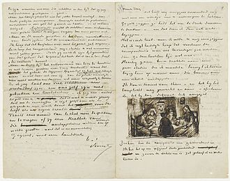 "The Letters of Vincent van Gogh - More than 650 letters from Vincent van Gogh to his brother Theo are preserved. In April 1885, Vincent wrote his brother about his first masterpiece, The Potato Eaters. He was currently working on the painting, which was to become one of his first complex compositions with multiple figures, and illustrated the letter with a sketch of the work, writing ""See, this is what the composition has now become. I've painted it on a fairly large canvas, and as the sketch is now, I believe there's life in it."""