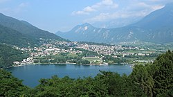 Levico Terme seen from near the Tenna municipality with Lake Levico in the front.