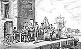 Zeitgenössische Darstellung von Tabakhändlern an der Chesapeake Bay