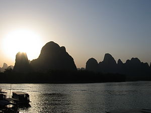 View of the Li River at the town of Xingping i...