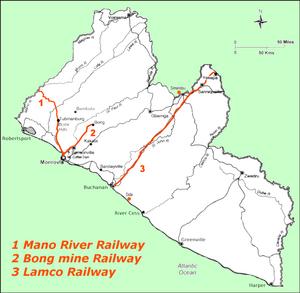 """Railways in Liberia - Railway lines of Liberia 1N - 3' 6"""" (1067 mm) gauge 2C - 4' 8.5"""" (1435 mm) gauge  3S - 4' 8.5"""" (1435 mm) gauge"""