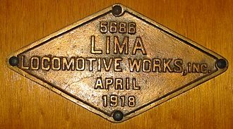 Lima Locomotive Works - Lima builder's plate, 1918