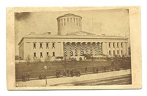 Ohio Statehouse - Public viewing of Abraham Lincoln at the Statehouse, 29 Apr 1865