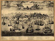 Gravure représentant la ville de Lisbonne au XVIesiècle.