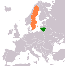 Map indicating locations of Lithuania and Sweden