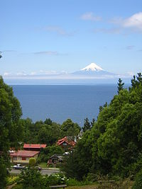 View to Lake Llanquihue and volcano Osorno from Frutillar village.