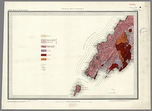Bardsey Island - 1850 Geological map