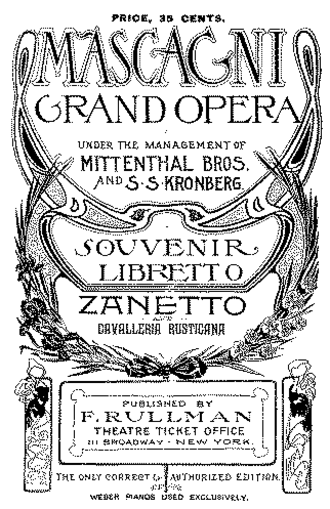 Zanetto - Cover of the souvenir libretto printed for the first New York performance 1902