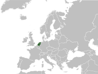 Map of the Netherlands within Europe.